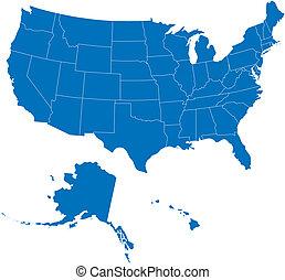 50, מדינות, ארהב, כחול, צבע