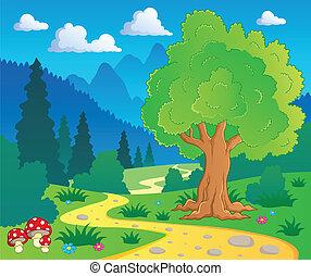 8, ציור היתולי, נוף, יער