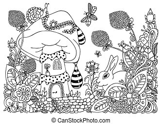 adults., מדגיש, לצבוע, שפן, drawing., דיר, דוגמה, גדול, flowers., הזמן, וקטור, white., הרהרי, exercises., נגד, שרבט, zentangl, שחור