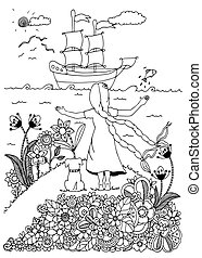 adults., מדגיש, לצבוע, drawing., שרבט, כלב, דוגמה, ship., הזמן, וקטור, white., הפגש, נגד, ילדה, zentangl, שחור
