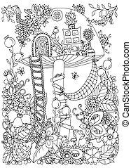 adults., page., מדגיש, לצבוע, דיר, זן, דוגמה, forest., flowers., וקטור, פטריה, white., שרבט, נגד, סבך, הזמן, שחור