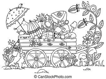 adults., zentangl, מדגיש, לצבוע, דברים, drawing., שרבט, nature., עגלה, טייל, וקטור, נגד, דוגמה, הרהרי, exercises., שחור, הזמן, white.