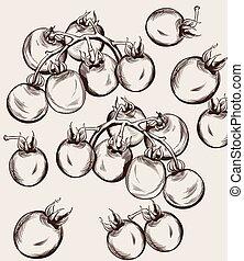 art., אסף, דובדבן, דוגמות, נפול, סתו, וקטור, קו, עגבניות