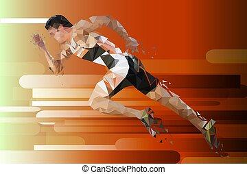athlete., illustration., poly, לרוץ, וקטור, נמוך