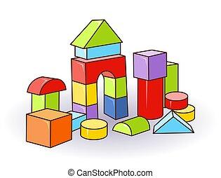 babys, קוביות, מכתב, מעץ, או, פלסטיק, צבע, toys., vector., טירה, cubes.