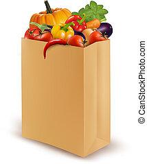 bag., נייר, טרי, דוגמה, רקע, ירקות, וקטור, אוכל., בריא