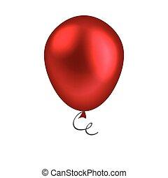 balloon, לבן, הפרד, רקע, אדום