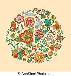 birds., קיץ, שונה, עשה, בציר, עוזב, פרפרים, מואר, דוגמה, סיבוב, עצב, רקע., flowers., וקטור, הסתובב, פרחים, תרשימים