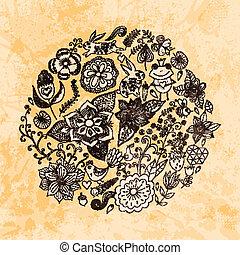 birds., קיץ, שונה, עשה, גראנג, בציר, paper., פרפרים, flowers., דוגמה, סיבוב, עצב, רקע., מואר, וקטור, עוזב, הסתובב, פרחים, תרשימים