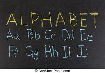 blackboard., אלפבית, בירות, גיר, כתוב