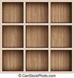box., מדפים, מעץ, עבד, כוננית ספרים, מחסן, או, ריק