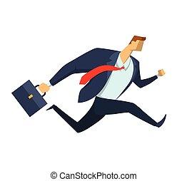 briefcase., דירה, עסק, למהר, אופי, הפרד, דוגמה, לרוץ, רקע., suit., וקטור, איש עסקים, לבן, איש, סיגנון