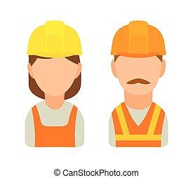 builder., קבע, דירה, אופי, דוגמה, וקטור, רקע, לבן, איקון