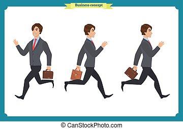businessman., רוץ, סיגנון, vector., הפרד, קבע, וקטור, קנת, ציור היתולי, דירה, חזית, ללכת, movements., מיגוון, לך, עצב, active., אופי, הבט, איש, תמוך, אוסף, לרוץ