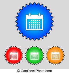 button., buttons., קבע, ימים, חודש, וקטור, icon., תארך, colur, חתום, לוח שנה, סמל.