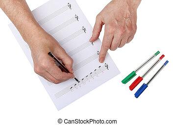 *c*, טפס, דף, כותב, עקרי, מזדקן, מורה, מוסיקה, לינאד, paper.