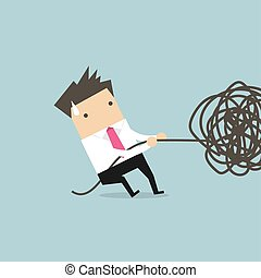 cable., חבל, פענח, איש עסקים, סבך, לנסות, או
