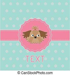 card., סרט, shih, ורוד, dog., כנה, tzu