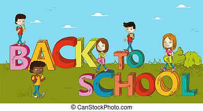 cartoon., ילדים של בית הספר, חינוך, השקע
