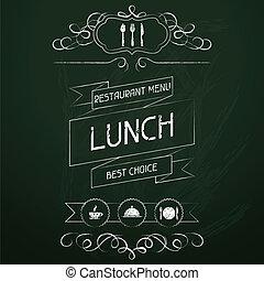 chalkboard., תפריט, ארוחת צהרים, מסעדה