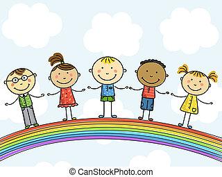 children., illustration., וקטור