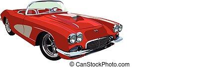 classic-muscle-car, אדום