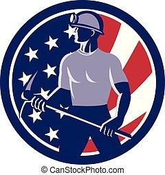 coal-miner-pick-ax-shield, usa-flag-icon, circ
