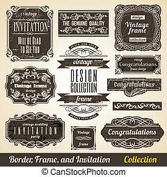collection., הסגר, calligraphic, הזמנה, שלוט, יסוד, גבול
