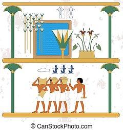 composition., עתיק, אנשים, מצרים, oasis., השקה, רקע., קנה, היסטורי, קבלנים