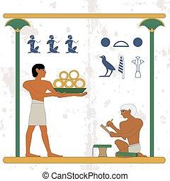 compostion, אנשים, מצרים, זהב, משרת, אנשים, nyle, עתיק, רקע., טפסר, .historical