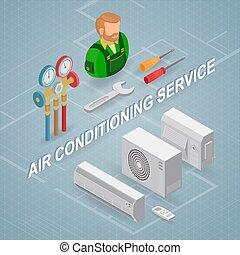 concept., לאלף, הבלט, equipment., service., איזומטרי, עובד