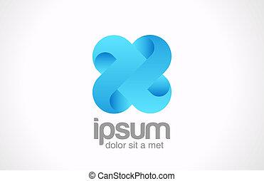 concept., vecto, icon., ענוב, *x*, אפן, לוגו, כחול, אין סוף, cross., התחבר