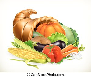 cornucopia., vegetables., קרן, וקטור, plenty., 3d, אסף, איקון
