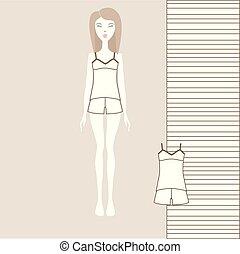 cotton., קבע, מכנסים קצרים, בגדים, נשים, *t* חולצה, של נערות, תפור, pajamas., בית, בגדים