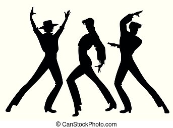 dancers., צללית, לרקוד, גברים, שלושה, אלגנטי, ספרדי, פלאמאנכו, flamenco., טיפוסי