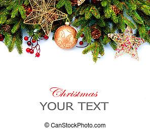 decoration., הפרד, רקע., עצב, קישוטים, לבן, חופשה, גבול, חג המולד