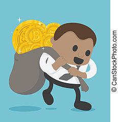 delight., עצום, מטבעות, bitcoin, כמות, להביא, אפריקני, איש עסקים, ביטויים