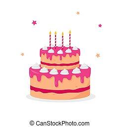 dessert., יום הולדת, candles., עוגה, מתוק