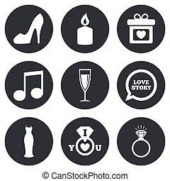 diamond., אירוסין, חתונה, צלצל, icons.