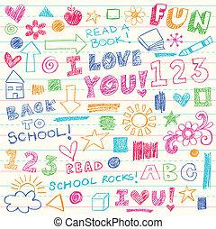 doodles, עפרוני צבע, וקטור, קבע, ילדים