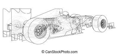 drawing., לעקוב, תקציר, דוגמה, רוץ, מכונית., נוסחה, 3d