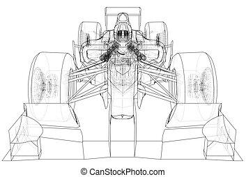 drawing., לעקוב, תקציר, דוגמה, רוץ, מכונית., ספורט, 3d