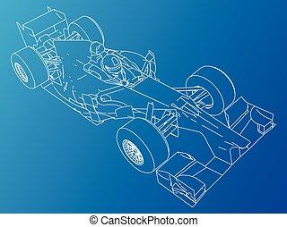 drawing., לעקוב, תקציר, דוגמה, רוץ, מכונית., 3d., ספורט