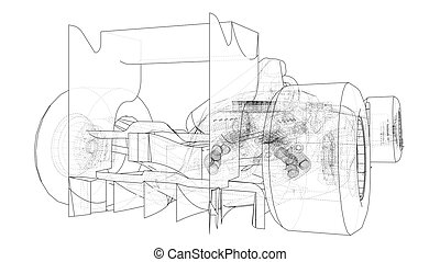 drawing., לעקוב, תקציר, השקע, דוגמה, רוץ, מכונית., 3d., הבט