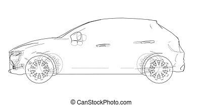 drawing., מכונית, וקטור, תאר