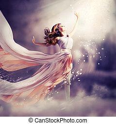 dress., ילדה, ללבוש, צ'יפון, פנטזיה, קטע, ארוך, יפה