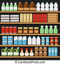 drinks., מדפים, supermarket., shelfs, וקטור, מוצרים