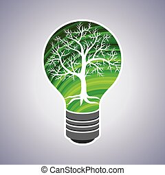 eco, אור, מושג, ירוק, נורת חשמל