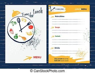 *f*, תפריט, זמן, lunch., יסוד, בית קפה, מסעדה, עצב, bar.