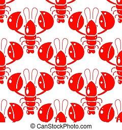 fabric., תבנית, paper., לעטוף, seamless, דוגמה, להדפיס, עצב, crayfish., דפוסית, lobsters., אדום
